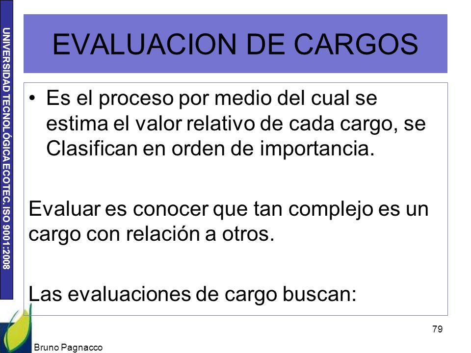 EVALUACION DE CARGOS Es el proceso por medio del cual se estima el valor relativo de cada cargo, se Clasifican en orden de importancia.
