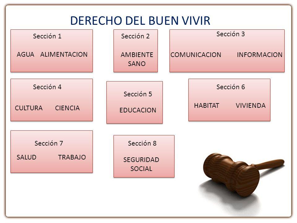 DERECHO DEL BUEN VIVIR Sección 3 Sección 1 Sección 2 AGUA ALIMENTACION