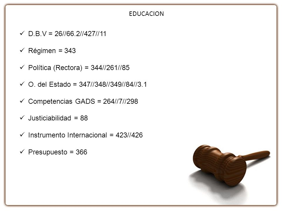 EDUCACION D.B.V = 26//66.2//427//11. Régimen = 343. Política (Rectora) = 344//261//85. O. del Estado = 347//348//349//84//3.1.