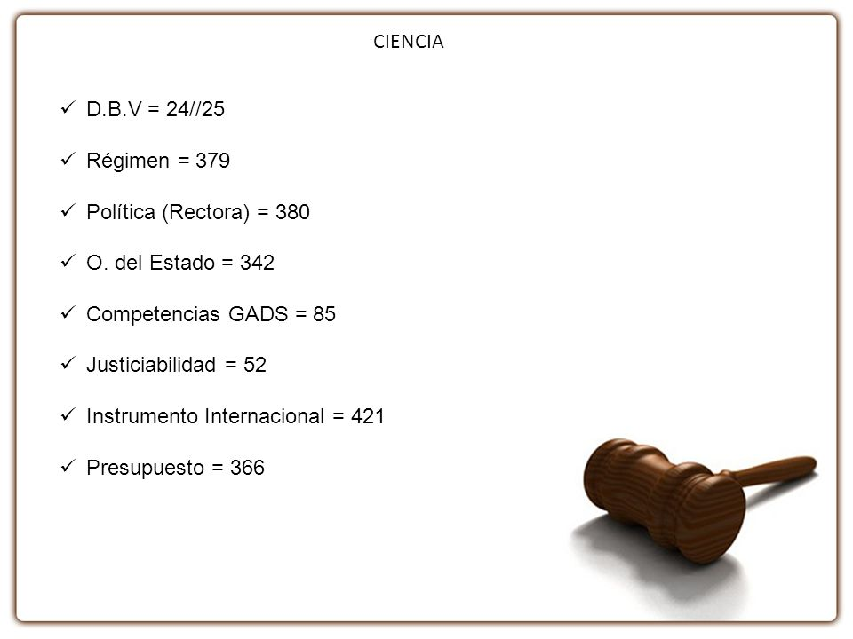CIENCIA D.B.V = 24//25. Régimen = 379. Política (Rectora) = 380. O. del Estado = 342. Competencias GADS = 85.