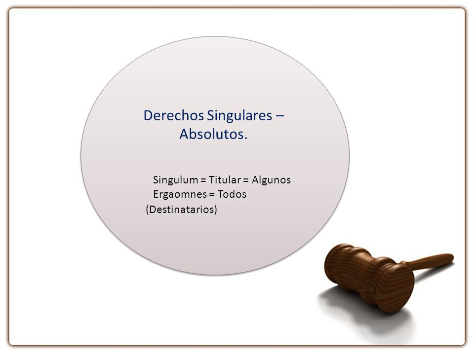 Derechos Singulares – Absolutos.