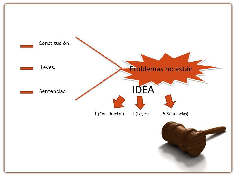 IDEA Problemas no están Constitución. Leyes. Sentencias.
