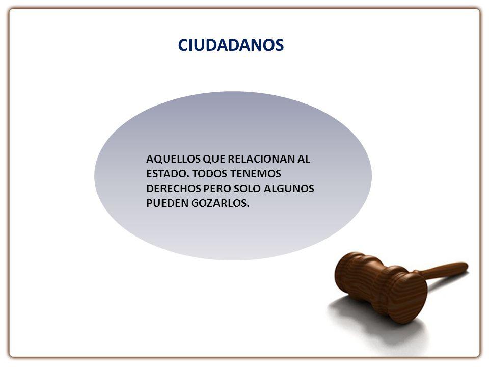 CIUDADANOS AQUELLOS QUE RELACIONAN AL ESTADO.