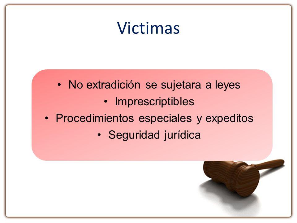 Victimas No extradición se sujetara a leyes Imprescriptibles