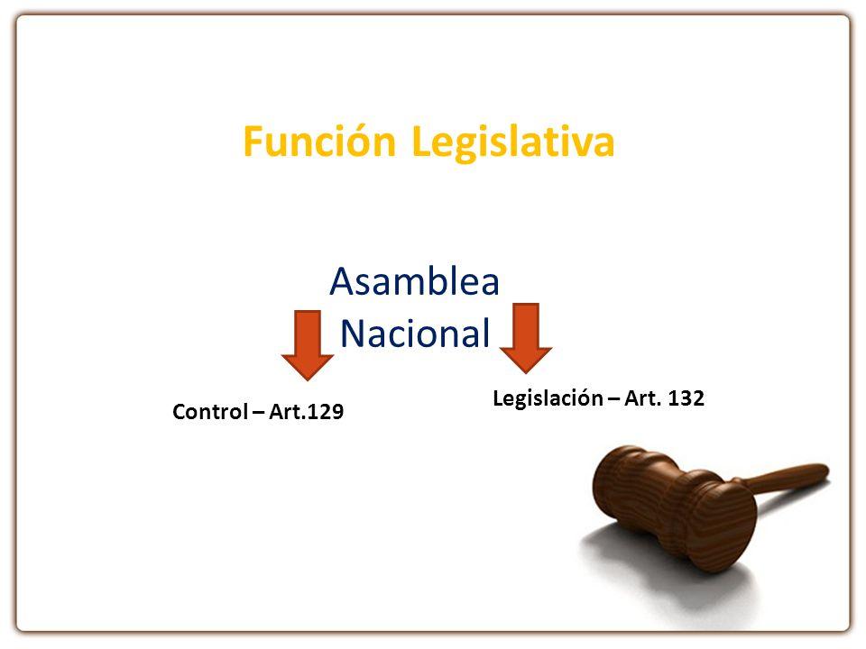 Función Legislativa Asamblea Nacional Legislación – Art. 132