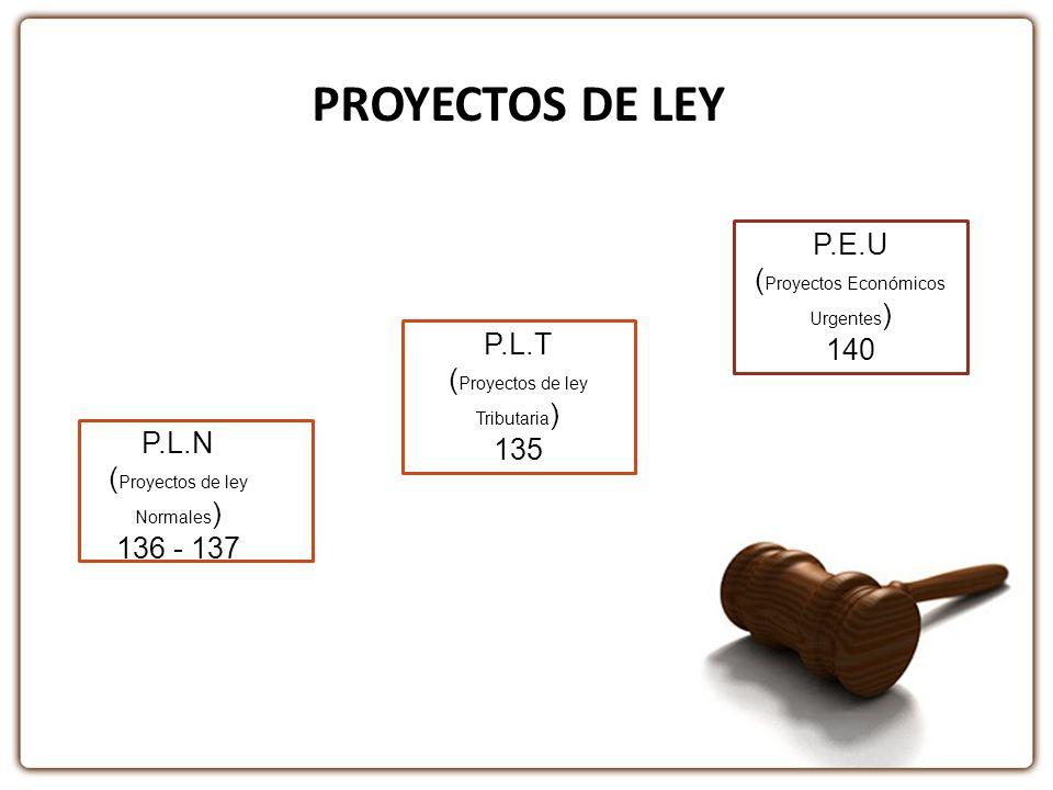 PROYECTOS DE LEY P.E.U (Proyectos Económicos Urgentes) 140 P.L.T