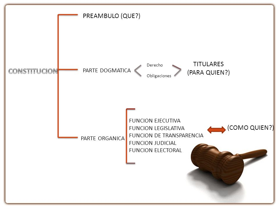 CONSTITUCION PREAMBULO (QUE ) TITULARES (PARA QUIEN ) (COMO QUIEN )