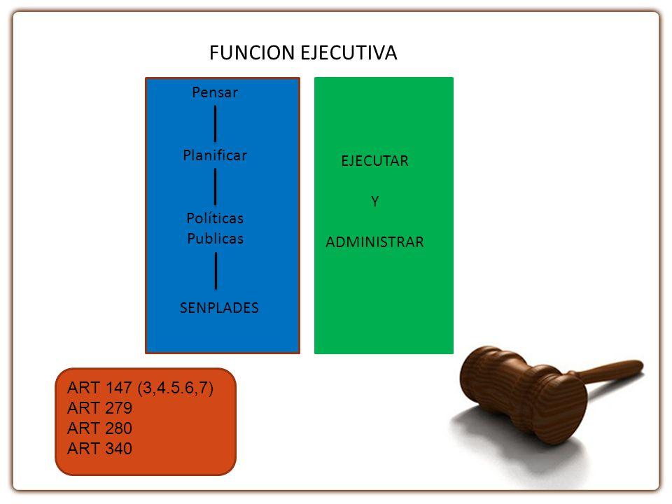FUNCION EJECUTIVA Pensar Planificar EJECUTAR Y ADMINISTRAR