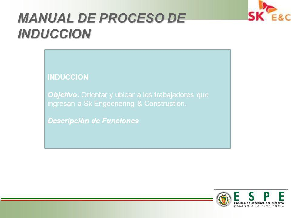 MANUAL DE PROCESO DE INDUCCION
