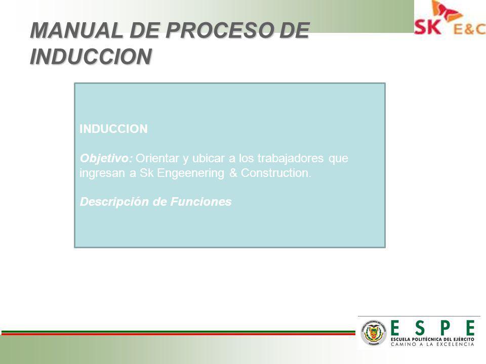 MANUAL DE PROCESO DE INDUCCION