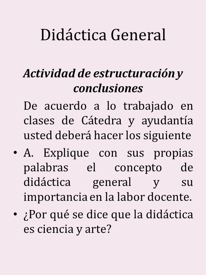 Actividad de estructuración y conclusiones