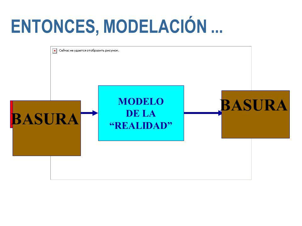 ENTONCES, MODELACIÓN ... BASURA BASURA MODELO DE LA REALIDAD
