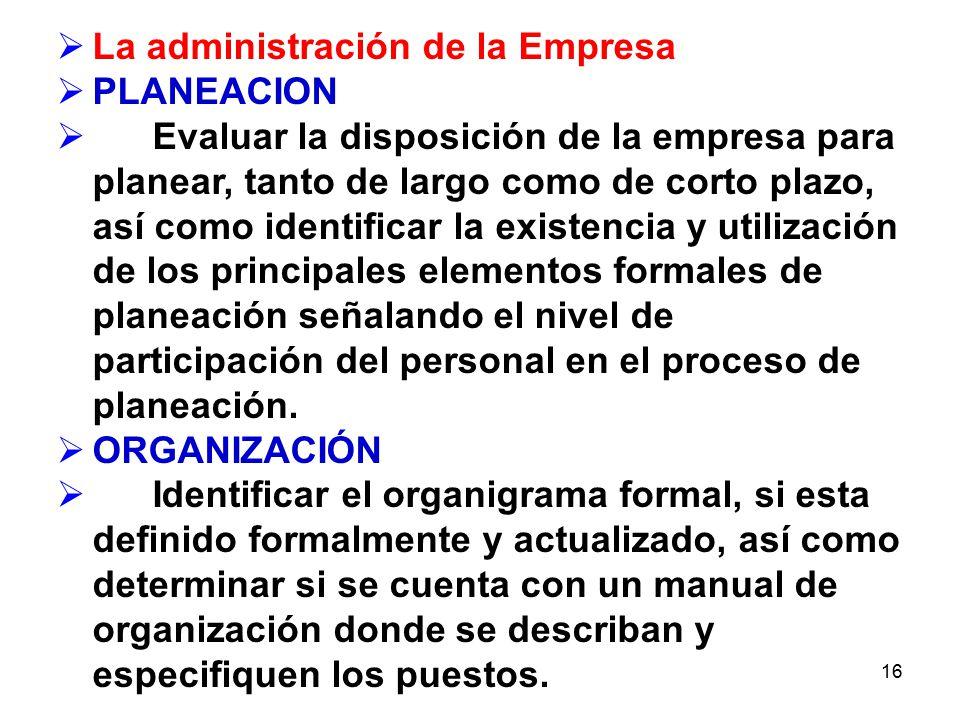 La administración de la Empresa PLANEACION