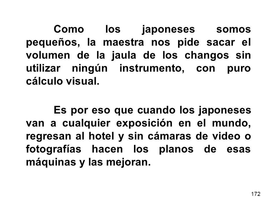 Como los japoneses somos pequeños, la maestra nos pide sacar el volumen de la jaula de los changos sin utilizar ningún instrumento, con puro cálculo visual.