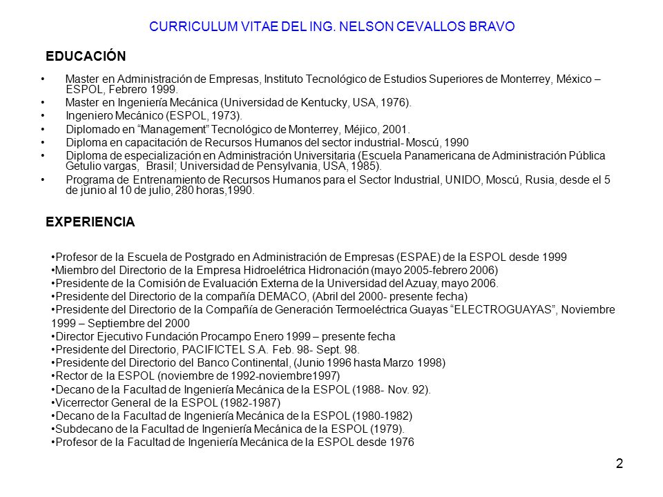 CURRICULUM VITAE DEL ING. NELSON CEVALLOS BRAVO