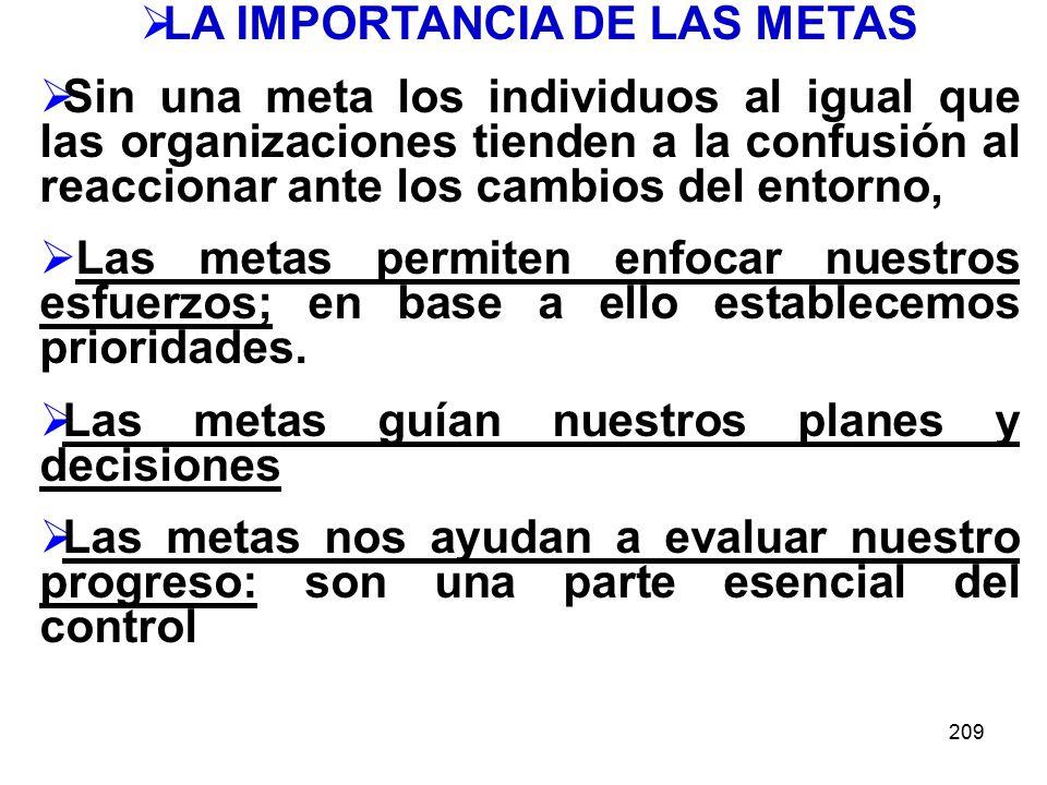 LA IMPORTANCIA DE LAS METAS