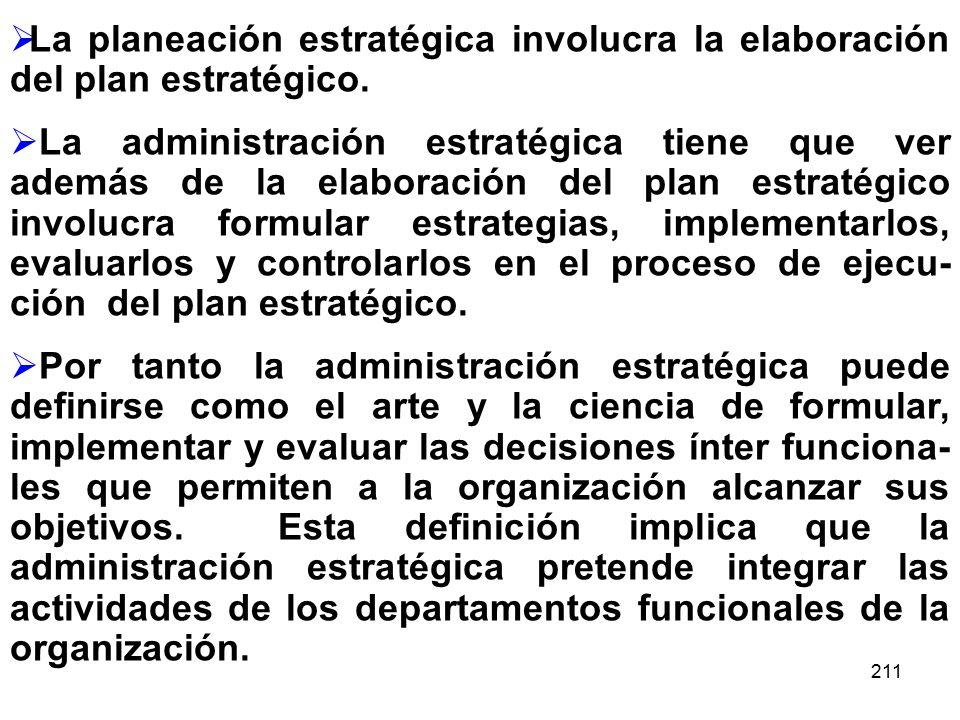 La planeación estratégica involucra la elaboración del plan estratégico.