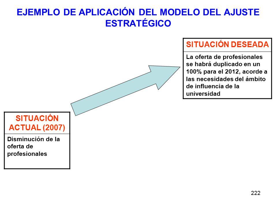 EJEMPLO DE APLICACIÓN DEL MODELO DEL AJUSTE ESTRATÉGICO