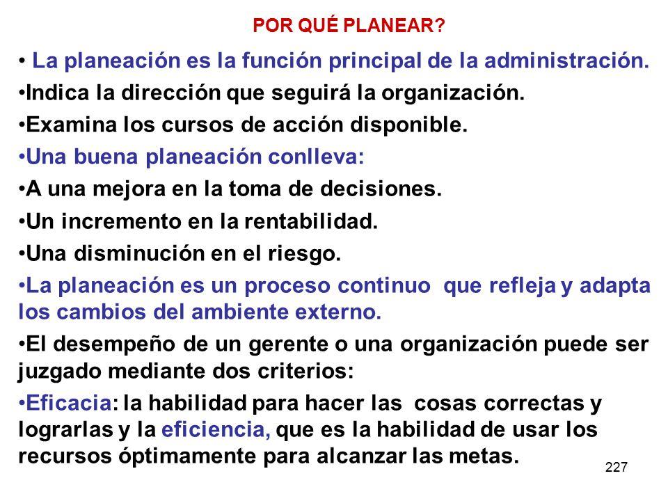 La planeación es la función principal de la administración.
