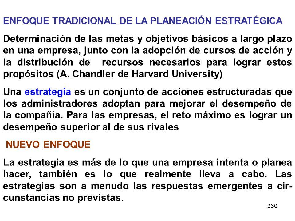 ENFOQUE TRADICIONAL DE LA PLANEACIÓN ESTRATÉGICA