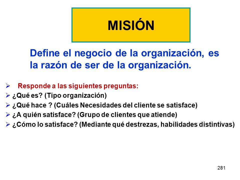 MISIÓN Define el negocio de la organización, es la razón de ser de la organización. Responde a las siguientes preguntas: