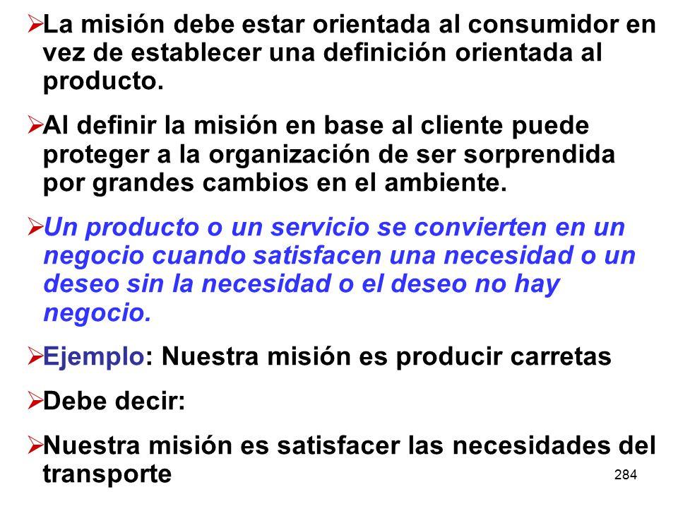 Ejemplo: Nuestra misión es producir carretas Debe decir: