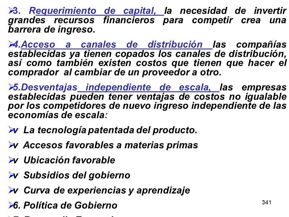 v La tecnología patentada del producto.