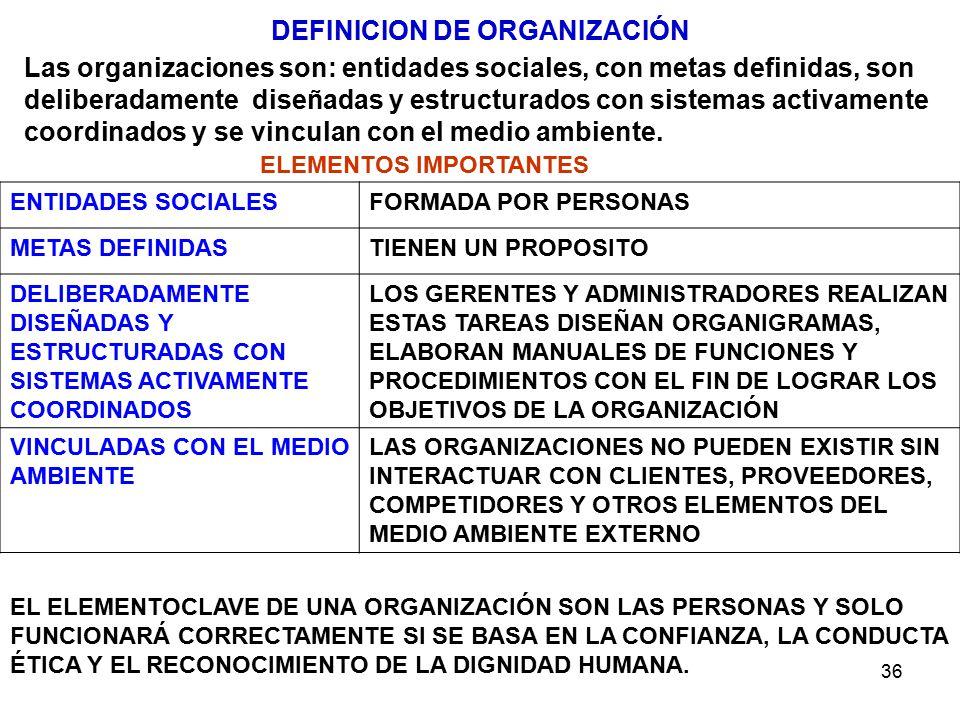 DEFINICION DE ORGANIZACIÓN ELEMENTOS IMPORTANTES