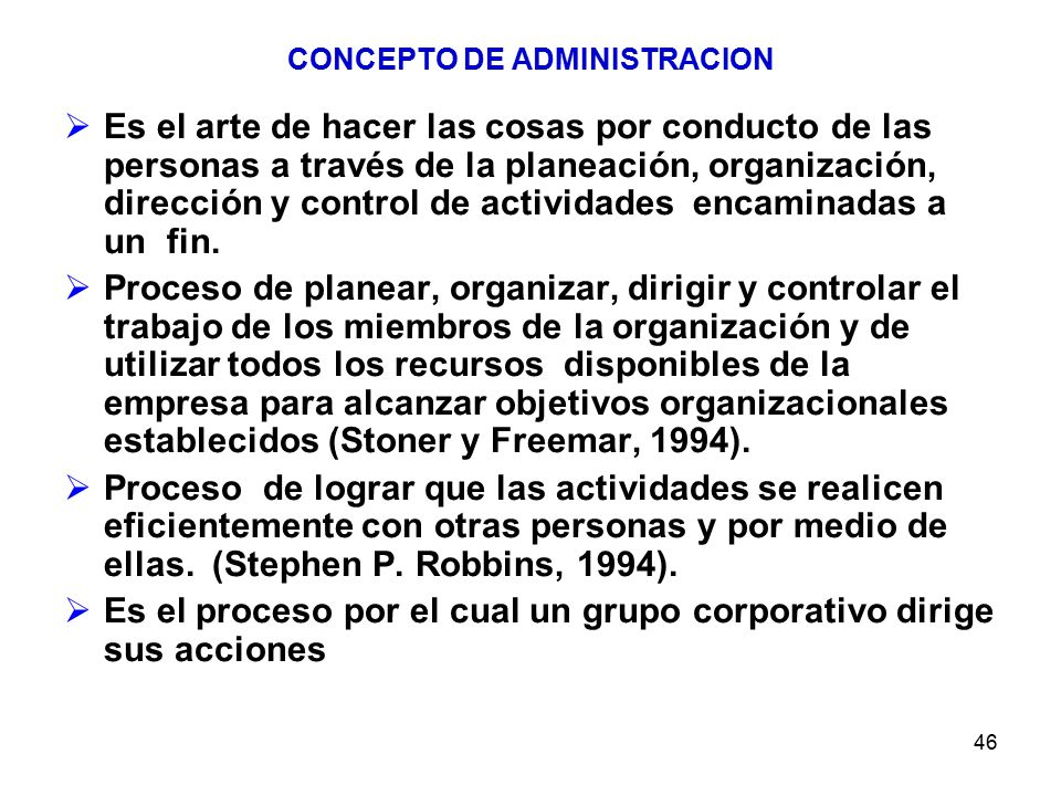 CONCEPTO DE ADMINISTRACION