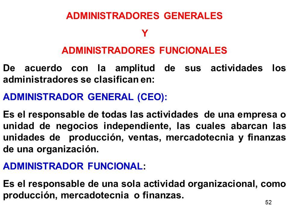 ADMINISTRADORES GENERALES ADMINISTRADORES FUNCIONALES