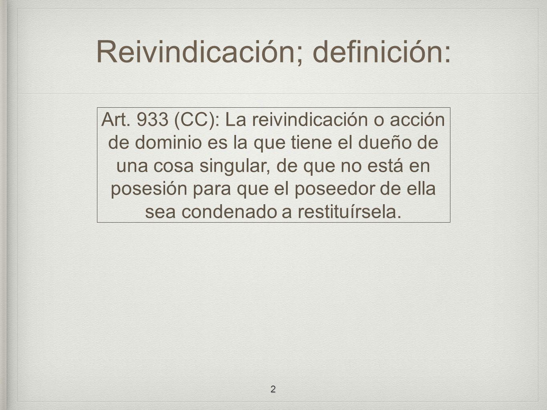 Reivindicación; definición: