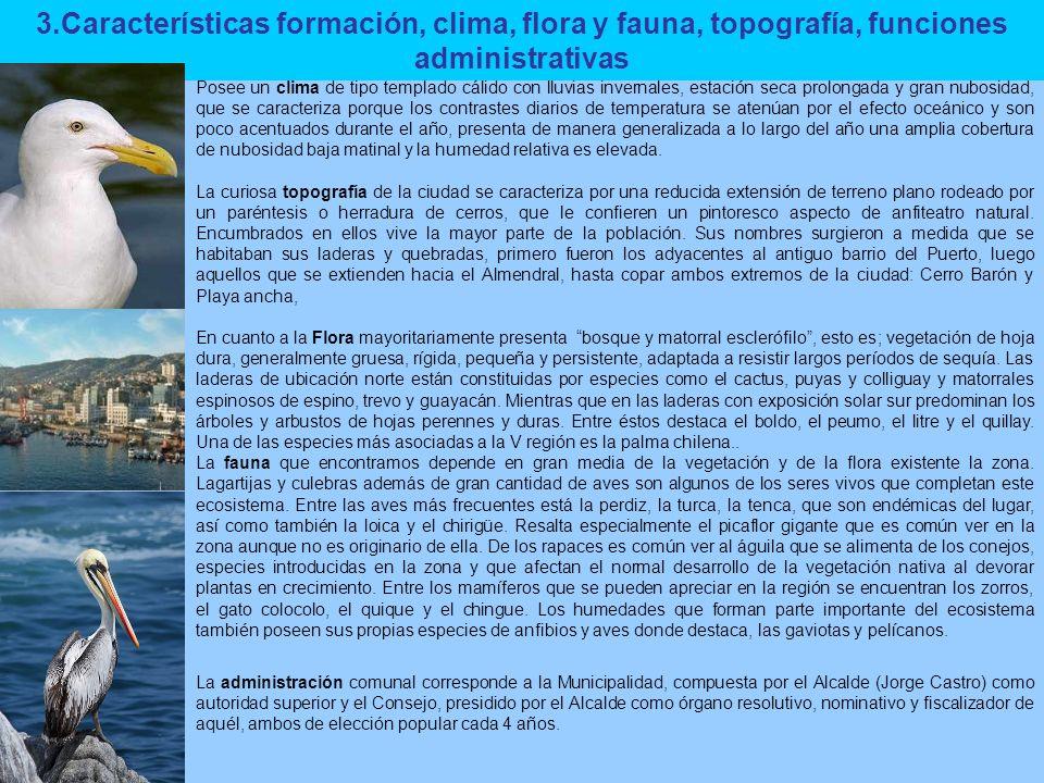 3.Características formación, clima, flora y fauna, topografía, funciones administrativas
