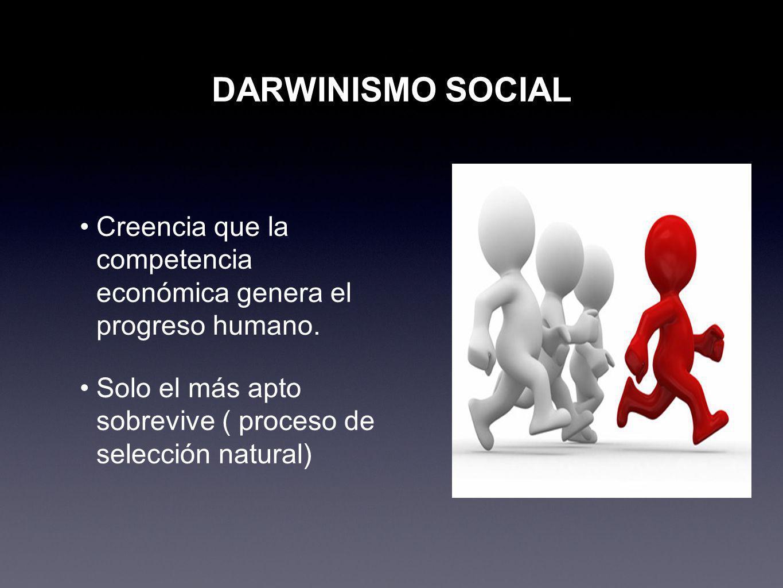 DARWINISMO SOCIAL Creencia que la competencia económica genera el progreso humano.
