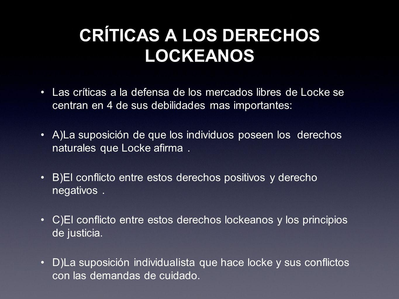 CRÍTICAS A LOS DERECHOS LOCKEANOS
