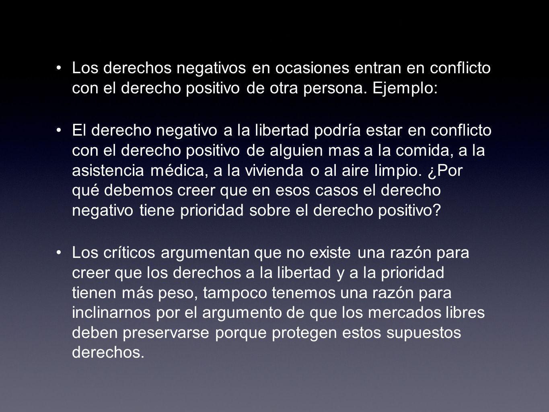 Los derechos negativos en ocasiones entran en conflicto con el derecho positivo de otra persona. Ejemplo: