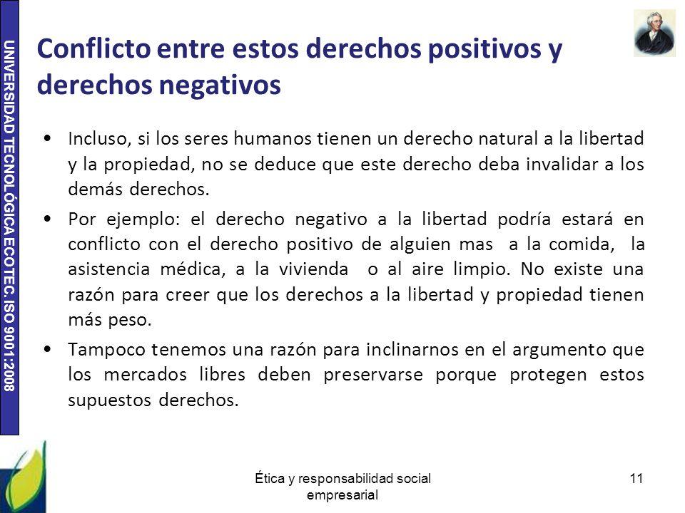 Conflicto entre estos derechos positivos y derechos negativos