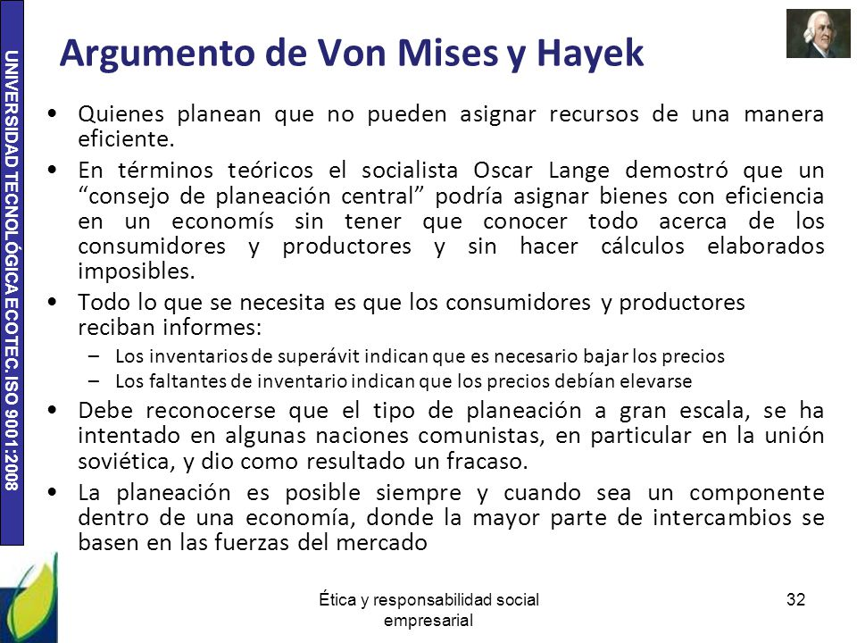 Argumento de Von Mises y Hayek