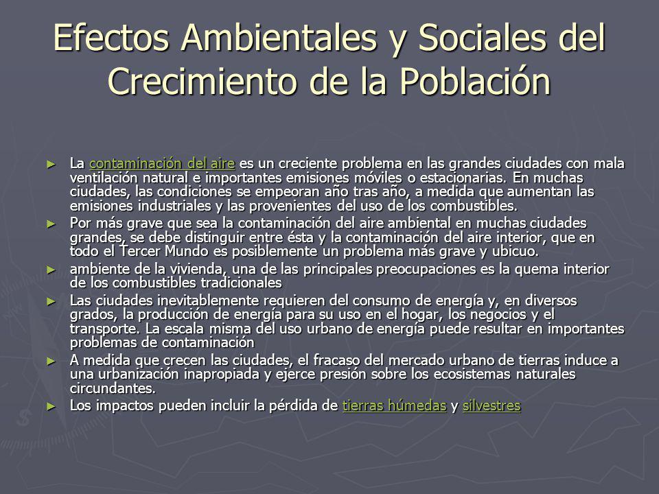 Efectos Ambientales y Sociales del Crecimiento de la Población