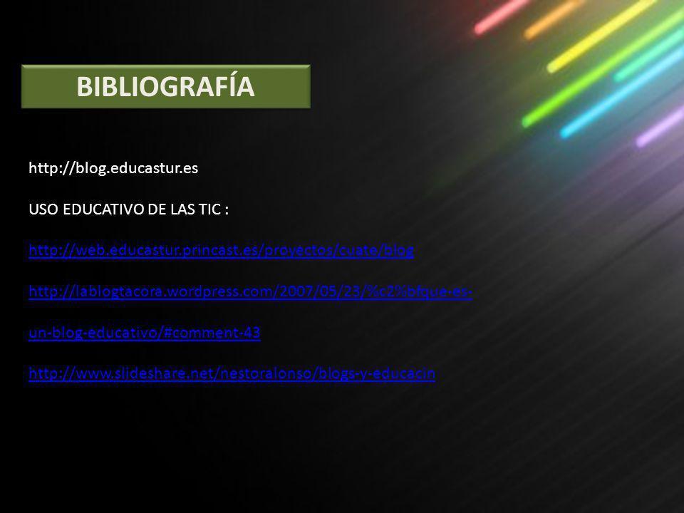 BIBLIOGRAFÍA http://blog.educastur.es USO EDUCATIVO DE LAS TIC : http://web.educastur.princast.es/proyectos/cuate/blog.