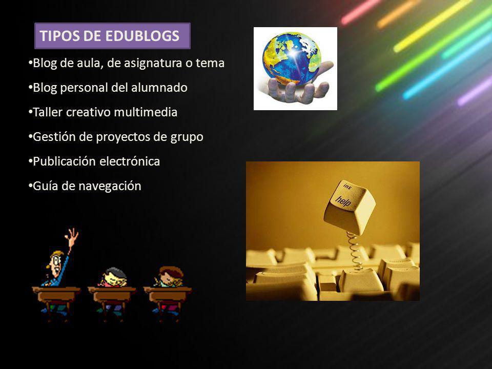 TIPOS DE EDUBLOGS Blog de aula, de asignatura o tema