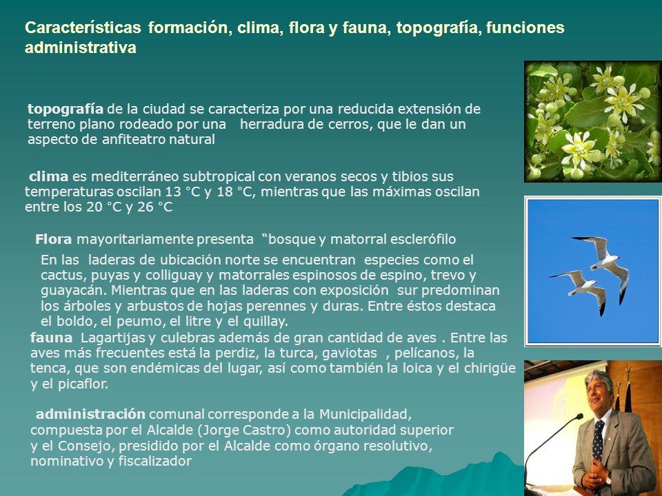 Características formación, clima, flora y fauna, topografía, funciones administrativa