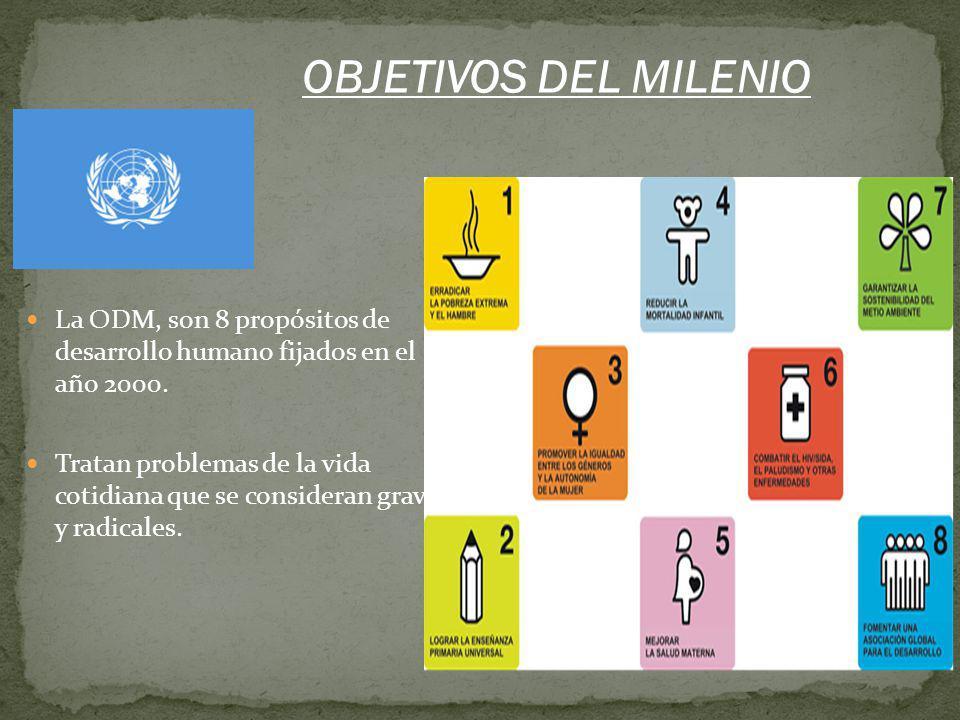 OBJETIVOS DEL MILENIO La ODM, son 8 propósitos de desarrollo humano fijados en el año 2000.