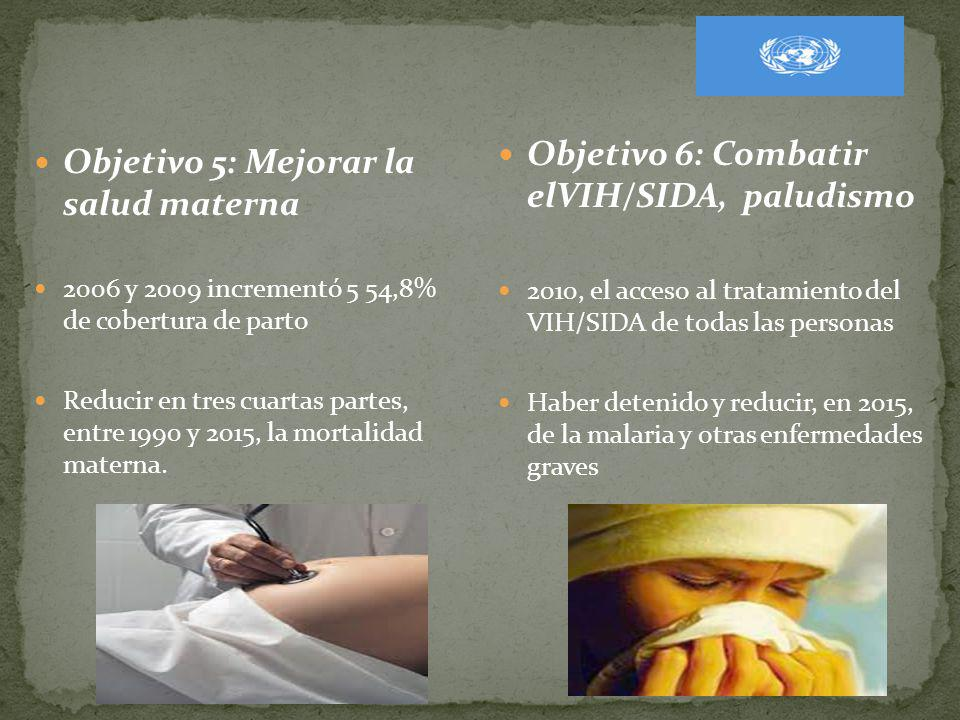 Objetivo 6: Combatir elVIH/SIDA, paludismo