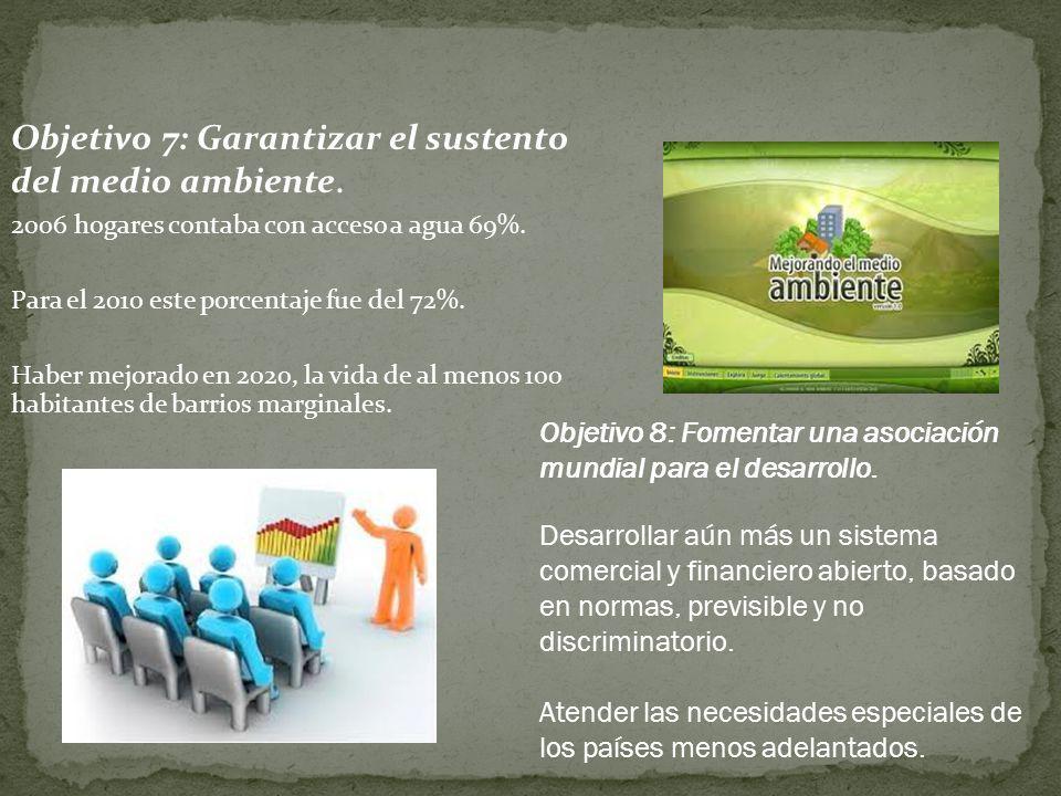 Objetivo 7: Garantizar el sustento del medio ambiente.