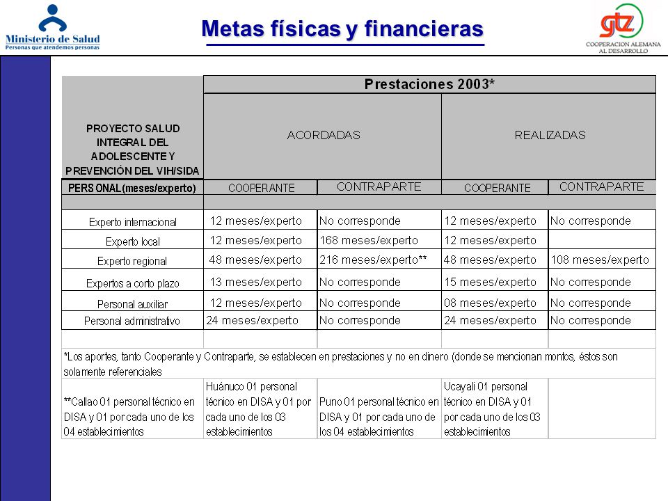 Metas físicas y financieras