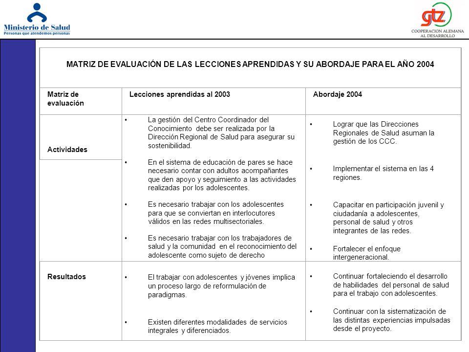 MATRIZ DE EVALUACIÓN DE LAS LECCIONES APRENDIDAS Y SU ABORDAJE PARA EL AÑO 2004. Matriz de evaluación.