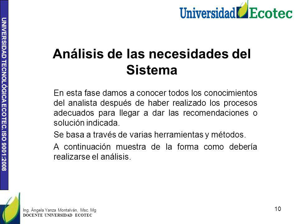 Análisis de las necesidades del Sistema