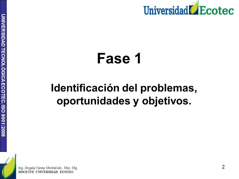 Identificación del problemas, oportunidades y objetivos.