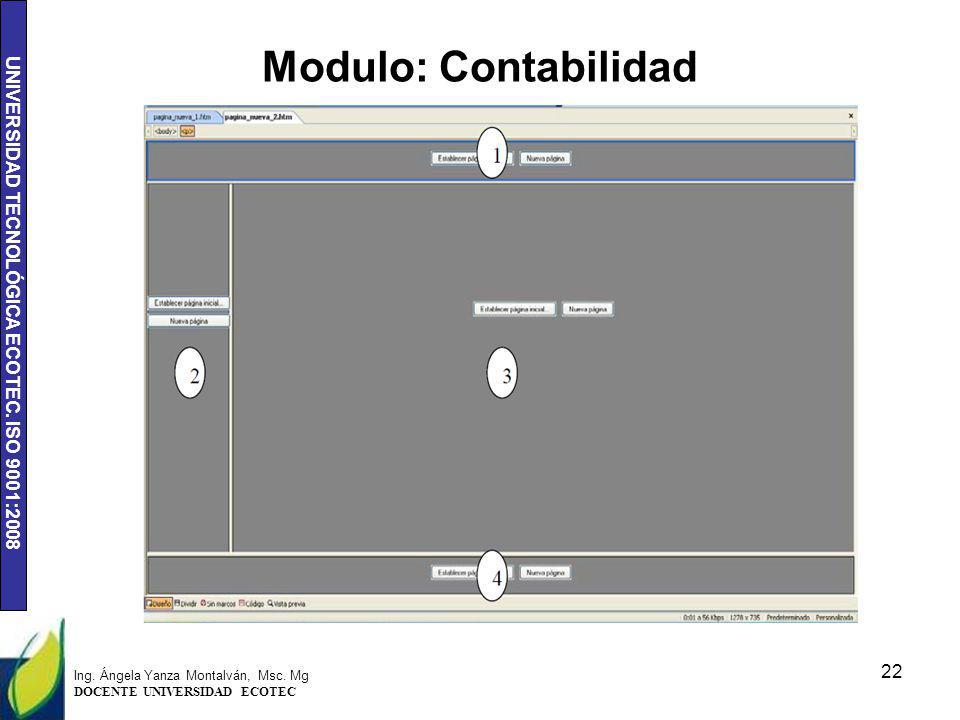 Modulo: Contabilidad Ing. Ángela Yanza Montalván, Msc. Mg