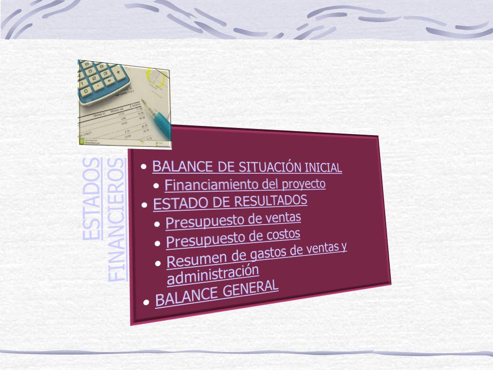 ESTADOS FINANCIEROS BALANCE DE SITUACIÓN INICIAL. Financiamiento del proyecto. ESTADO DE RESULTADOS.
